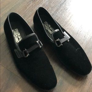 Black suade ferragamo men's shoes